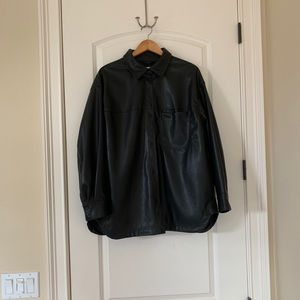 H&M Vegan Leather Long-Sleeve Shirt